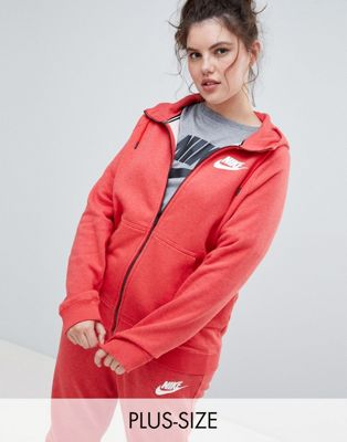 Nike Plus Rally Full Zip Hoodie In Red