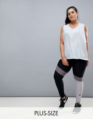 Nike Plus Training Power Leggings In Grey Colourblock