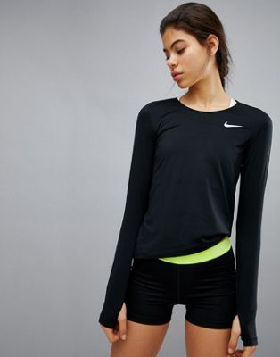 Nike Pro Training Long Sleeve Top In Black