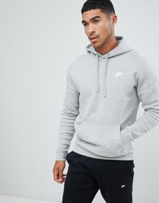 Nike Pullover Hoodie With Embroidered Logo In Grey 804346-063