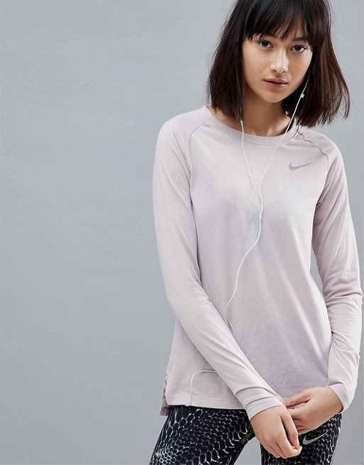 023b60903aced2 Nike Running Breathe Tailwind Long Sleeve Top In Rose | ASOS