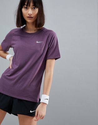 Nike Running Breathe Tailwind Tee In Purple