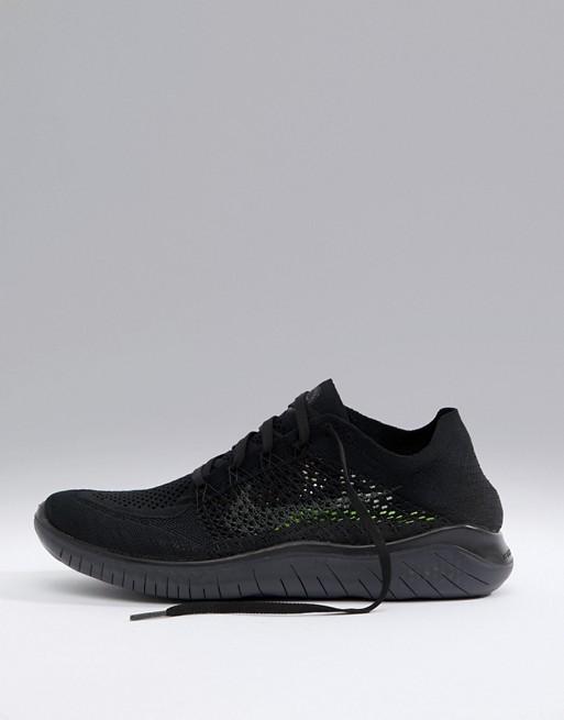 4f3e78f7c11da Nike Running Free Run Flyknit 2018 sneakers in triple black 942838-002