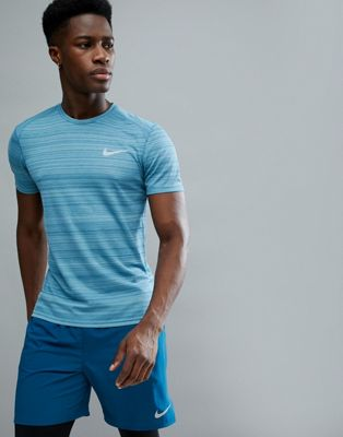 Nike Running Miler T-Shirt In Blue Texture 891684-407