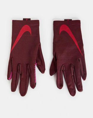 Nike Running women's base layer gloves in burgundy