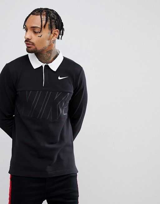 Nike SB Long Sleeve Polo Shirt In Black 885847-010 | ASOS