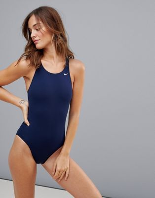 Nike Solid Navy Swimsuit