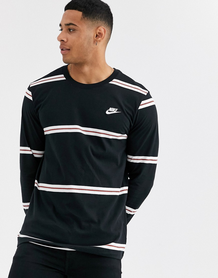 Nike Stripe Long Sleeve T Shirt In Black by Nike