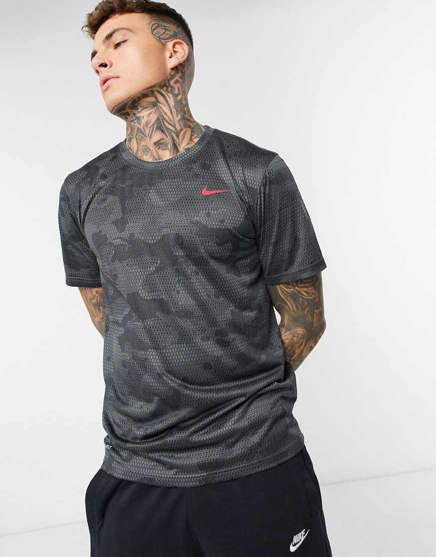 T-shirt by Nike This item is excluded from promo Camouflage print Crew neck Short sleeves Nike Swoosh logo to chest Regular fit True to size