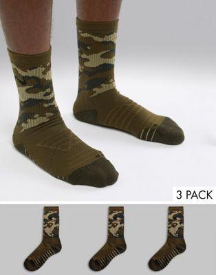 Afbeelding 1 van Nike Training - Everyday - Set van 3 paar verzachte sokken met camouflageprint SX7630-395