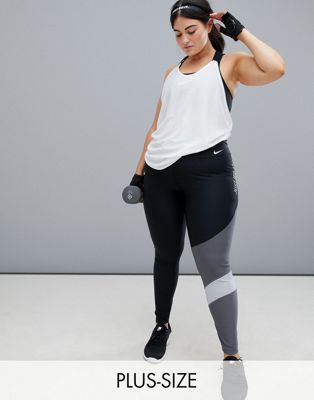 Nike Training Plus Power Leggings In Grey Colourblock