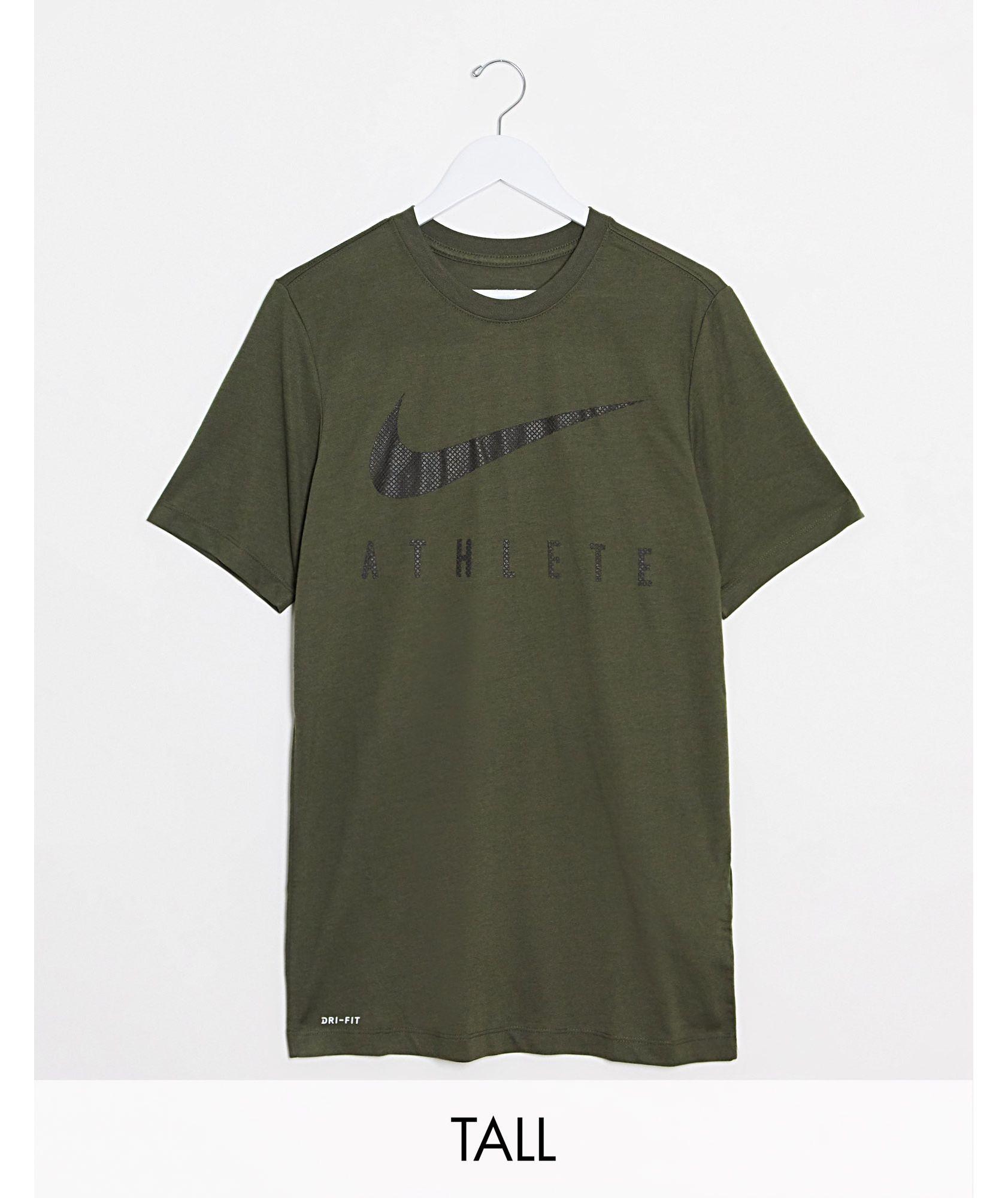 Nike Training Tall athlete swoosh t-shirt in khaki - ASOS Price Checker