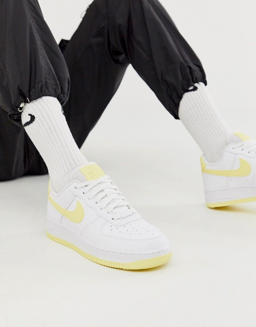 Nike White And Yellow Air Force 1 '07 Sneakers