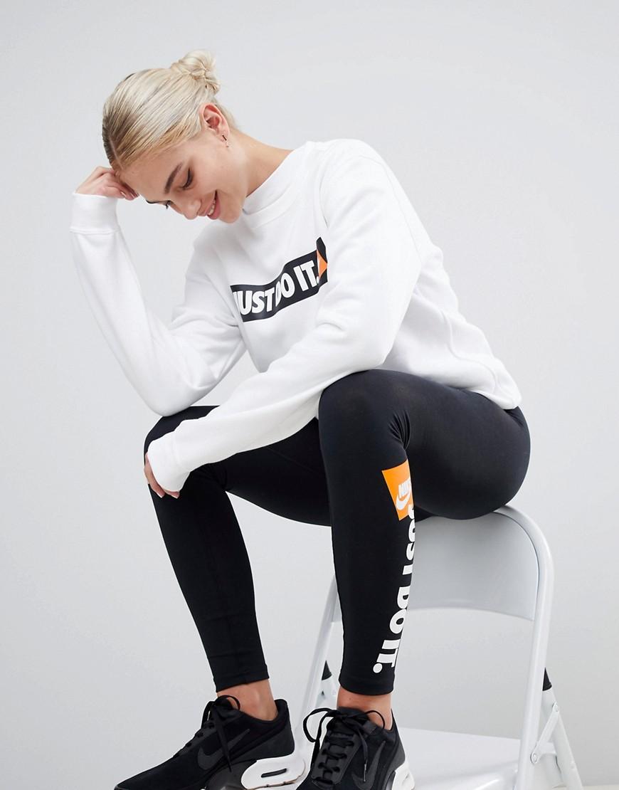 Nike White Just Do It Logo Crewneck Sweatshirt by Nike