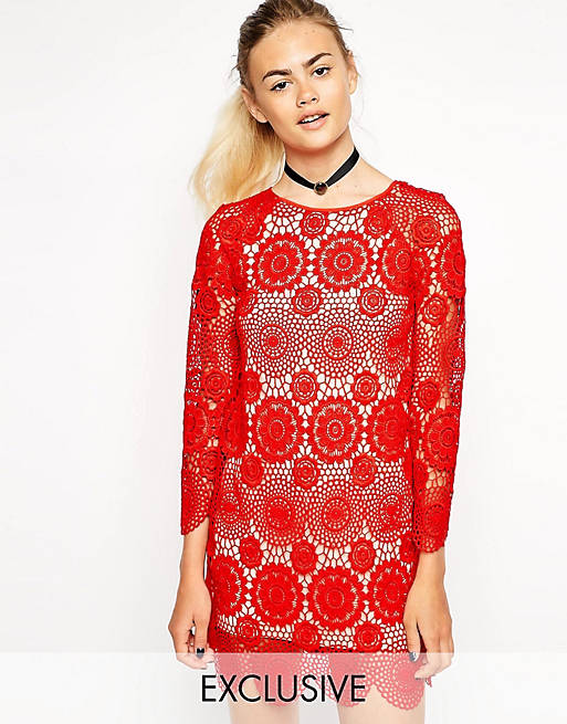 Nishe Allover Lace Shift Dress