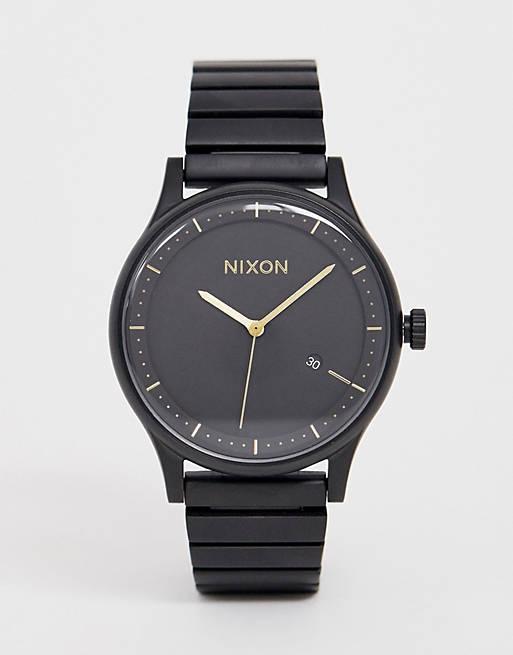 Nixon A1160 Station bracelet watch in matte black