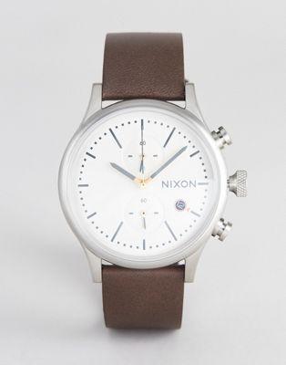 Nixon – A1163 Station Chronograph – Brun skinnklocka