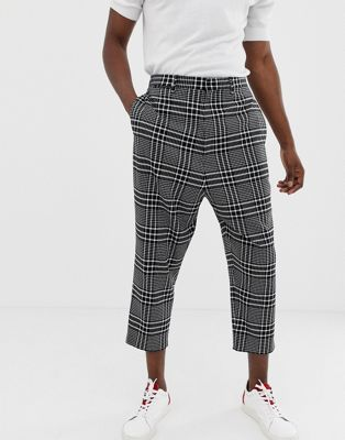 Noak drop crotch tapered cropped smart pant in black check