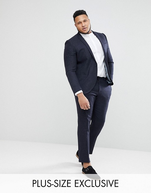 Noak Plus Size skinny Wedding Suit Pants In Grid Check