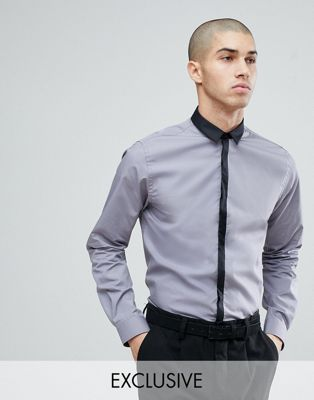 Noak Skinny Contrast Placket Shirt