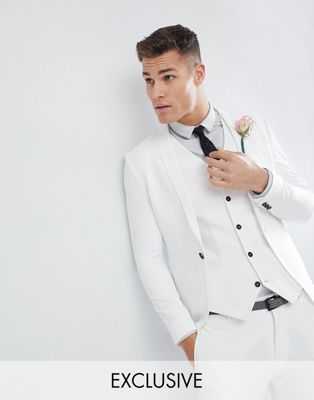 Noak Skinny Fit Wedding Suit Jacket In Cream