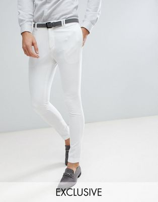 Noak Skinny Fit Wedding Suit Pants In Cream
