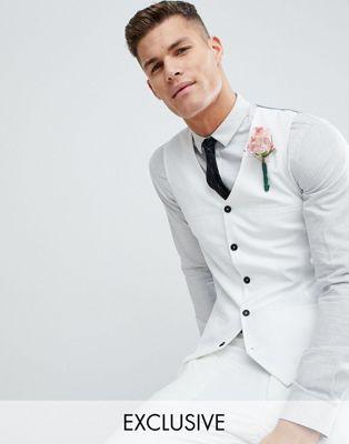 Noak Skinny FIt Wedding Waistcoat In Cream