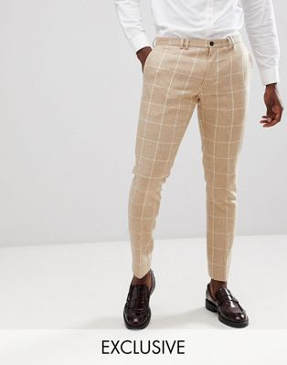Noak Skinny Suit Pants In Grid Check