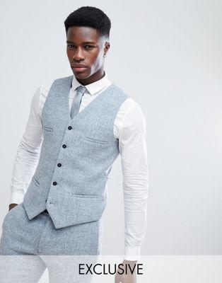 Noak Skinny Waistcoat In Harris Tweed