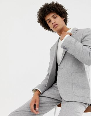 Noak slim suit jacket in grey wool mix
