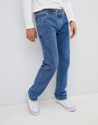 Image 1 of Noak straight jeans in mid wash blue with toggle