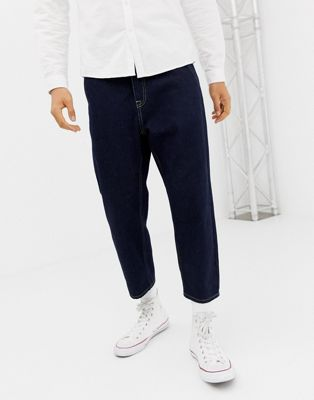 Noak straight leg cropped jeans in rinse wash