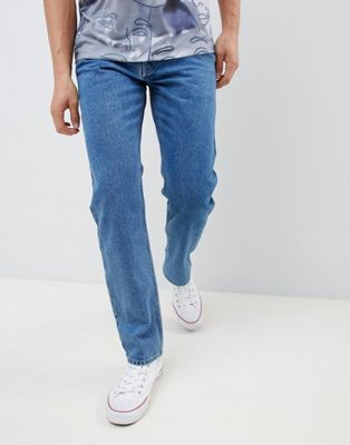 Noak straight leg jeans in 90's stone blue wash