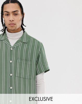 Noak striped revere shirt in mint
