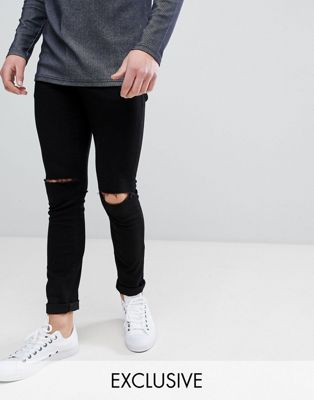 Noak Super Skinny Jeans With Knee Rips In Black