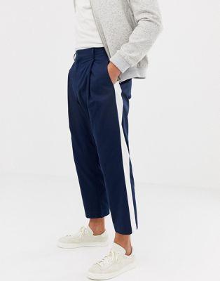 Noak wide leg smart pant in navy with side stripe