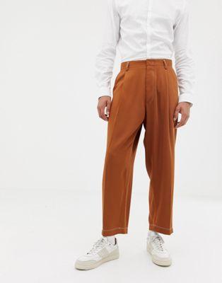 Noak wide leg smart pants in camel with pleats