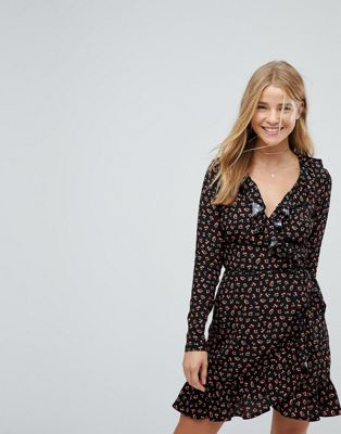 Nobody's Child Long Sleeve Wrap Dress In Cherry Print
