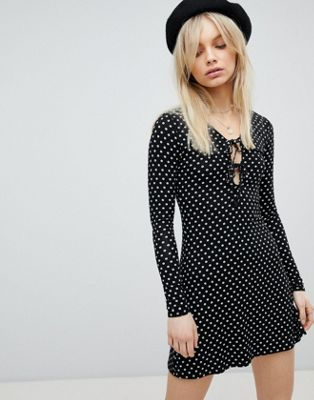 Nobody's Child Tie Front Long Sleeved Dress
