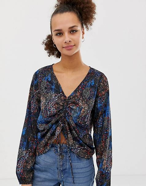 374be95da9c Noisy May - Blouse froncée sur le devant à imprimé animal varié