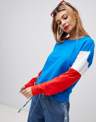 Image 1 of Noisy May color block sweatshirt