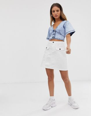 Image 1 of Noisy May pocket front denim mini skirt