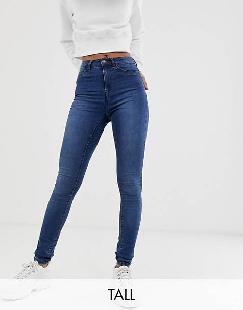 Noisy May Tall high waisted skinny callie jeans in mid blue wash