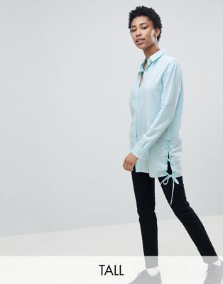 Noisy May Tall Longline Shirt With Tie Detail