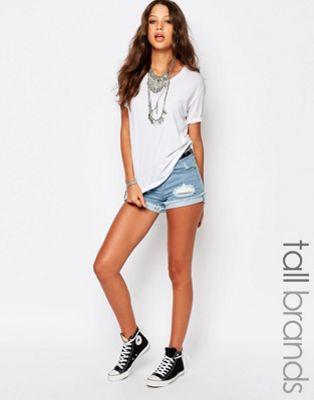 Image 1 sur Noisy May Tall - Short en jean déchiré