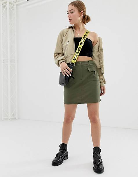 Noisy May utility skirt in khaki