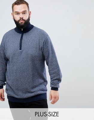 North - 56.4 - Gebreide trui met korte rits in marineblauw
