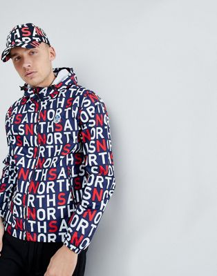 North Sails Stash Packable Windbreaker In All Over Logo Print