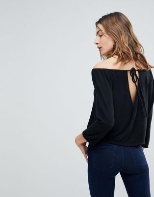 NYTT Nina Open Back Brushed Off Shoulder Tiop
