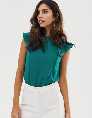 Image 1 of Oasis blouse with frill sleeves in green